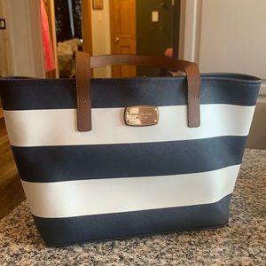 Navy & White striped Michael Kors bag